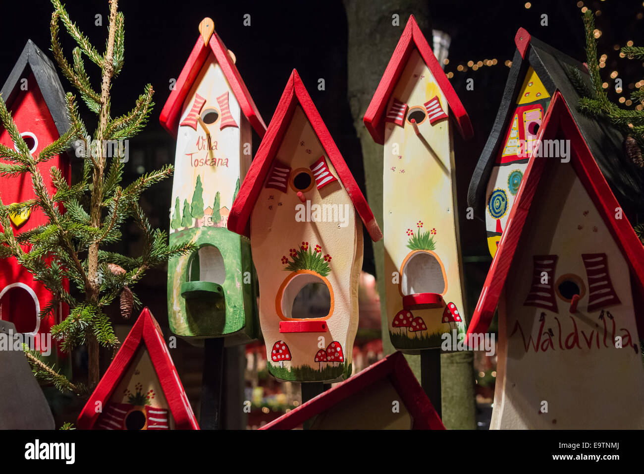 Hand Made Wooden Bird Houses For Sale At A German Winter Market