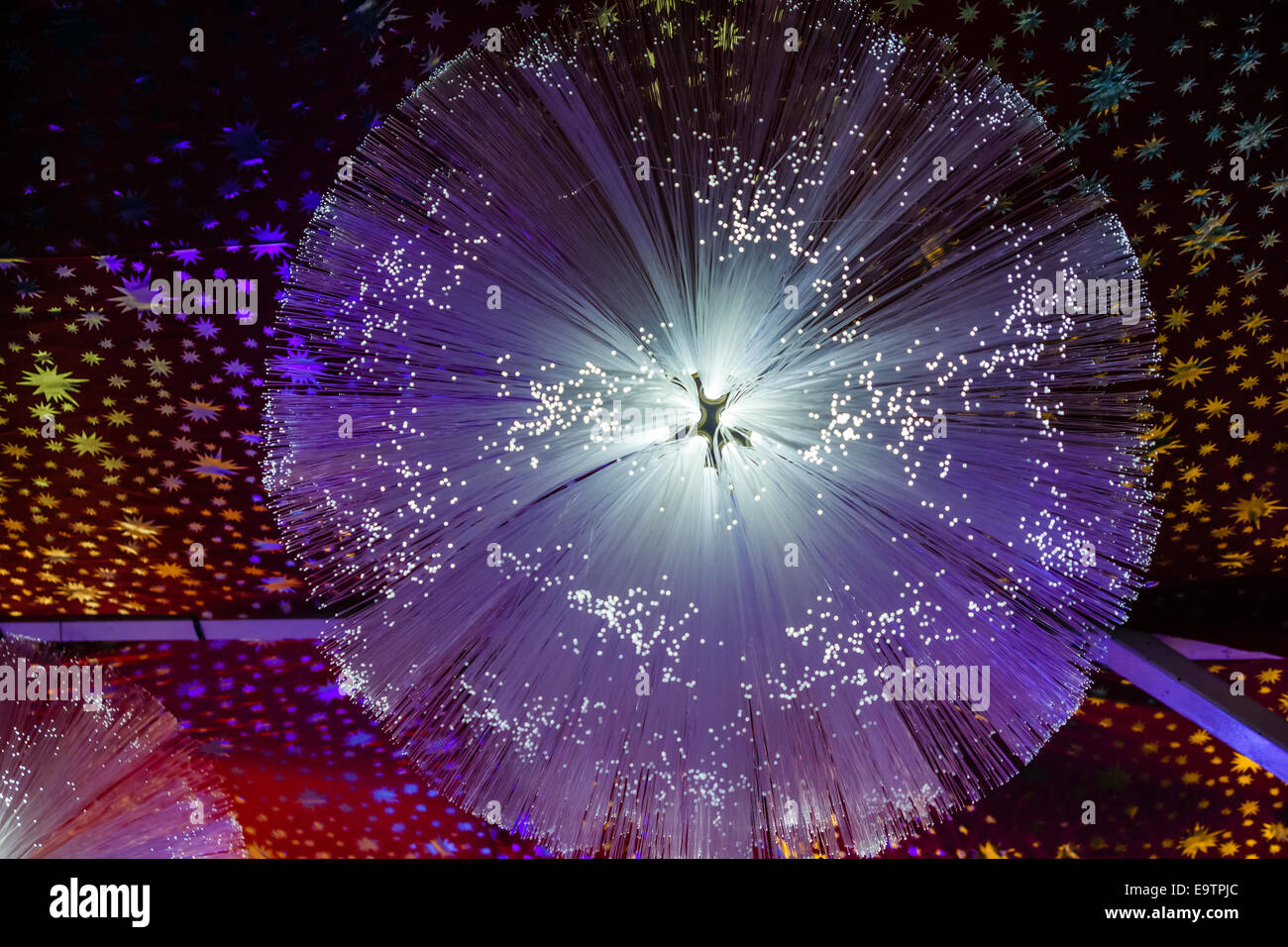 Close-up detail of a fiber optic lamp - Stock Image