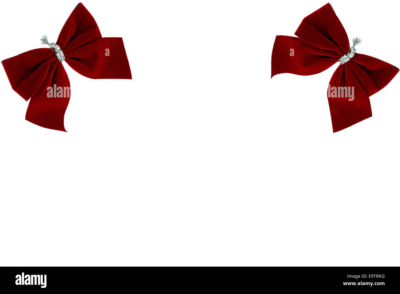 Red bows, a Christmas background - Stock Image