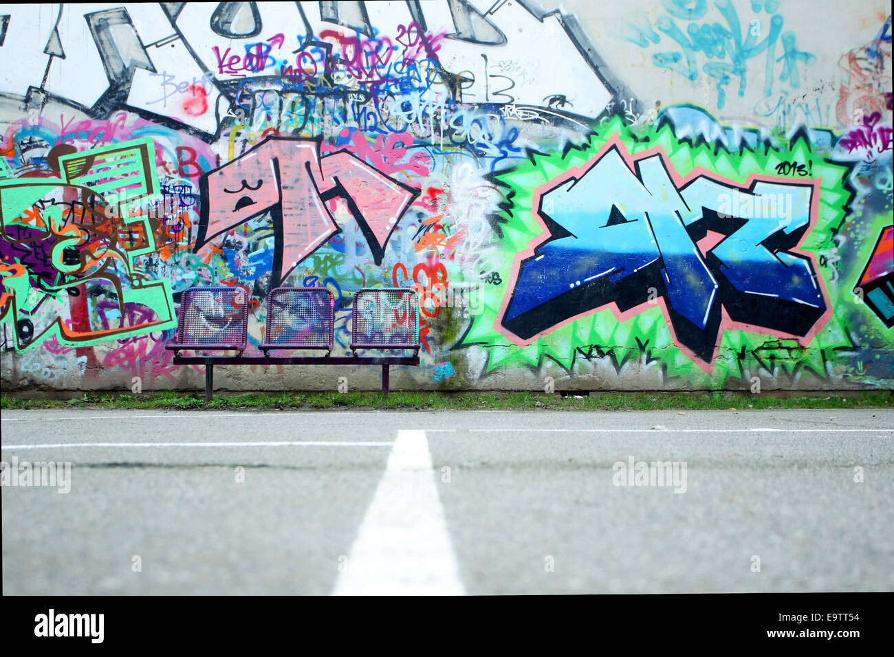 Zagreb croatia february 24 a colorful graffiti wall taken from surface level on
