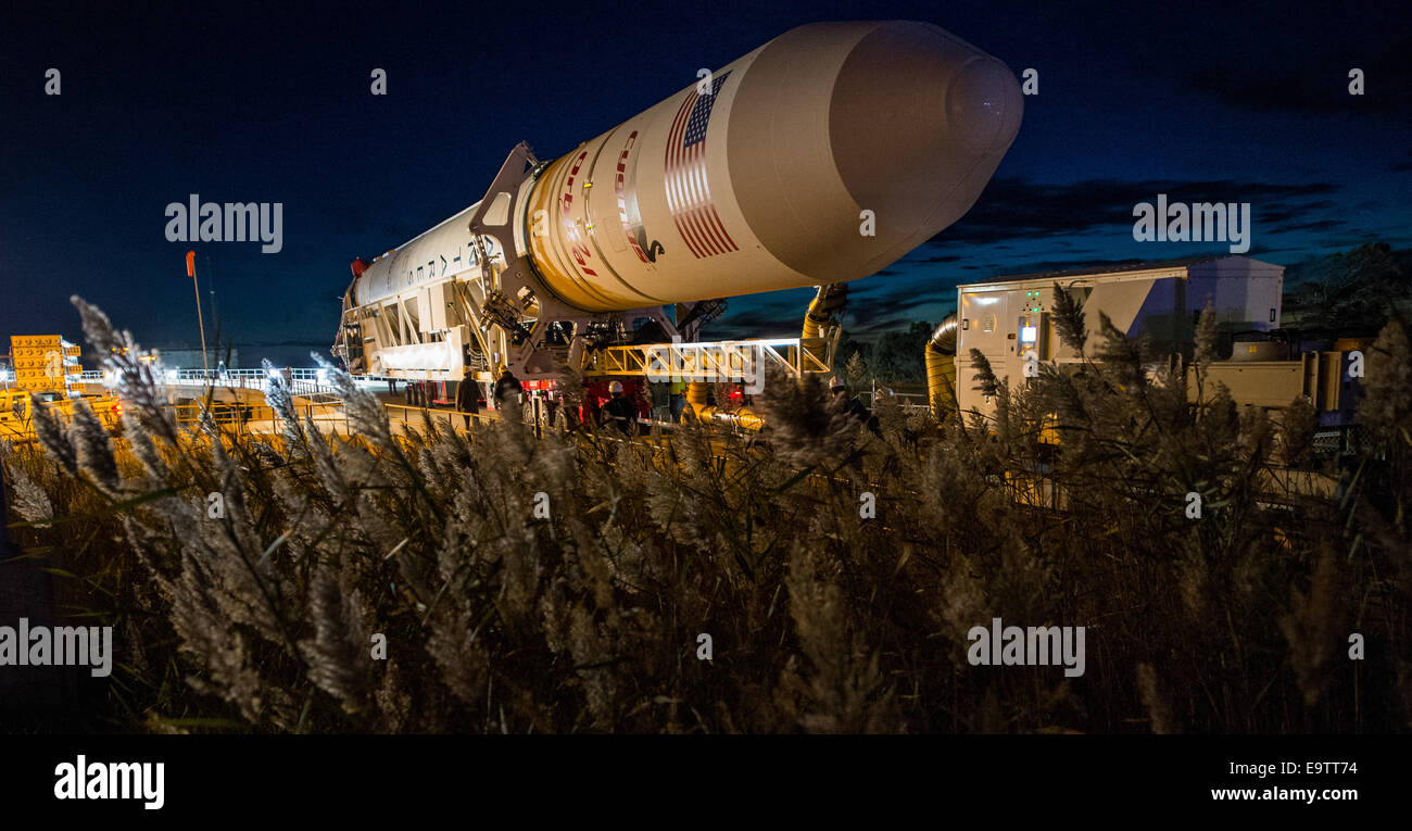 The Orbital Sciences Corporation Antares rocket, with the Cygnus spacecraft onboard, arrives at launch Pad-0A, Friday, - Stock Image