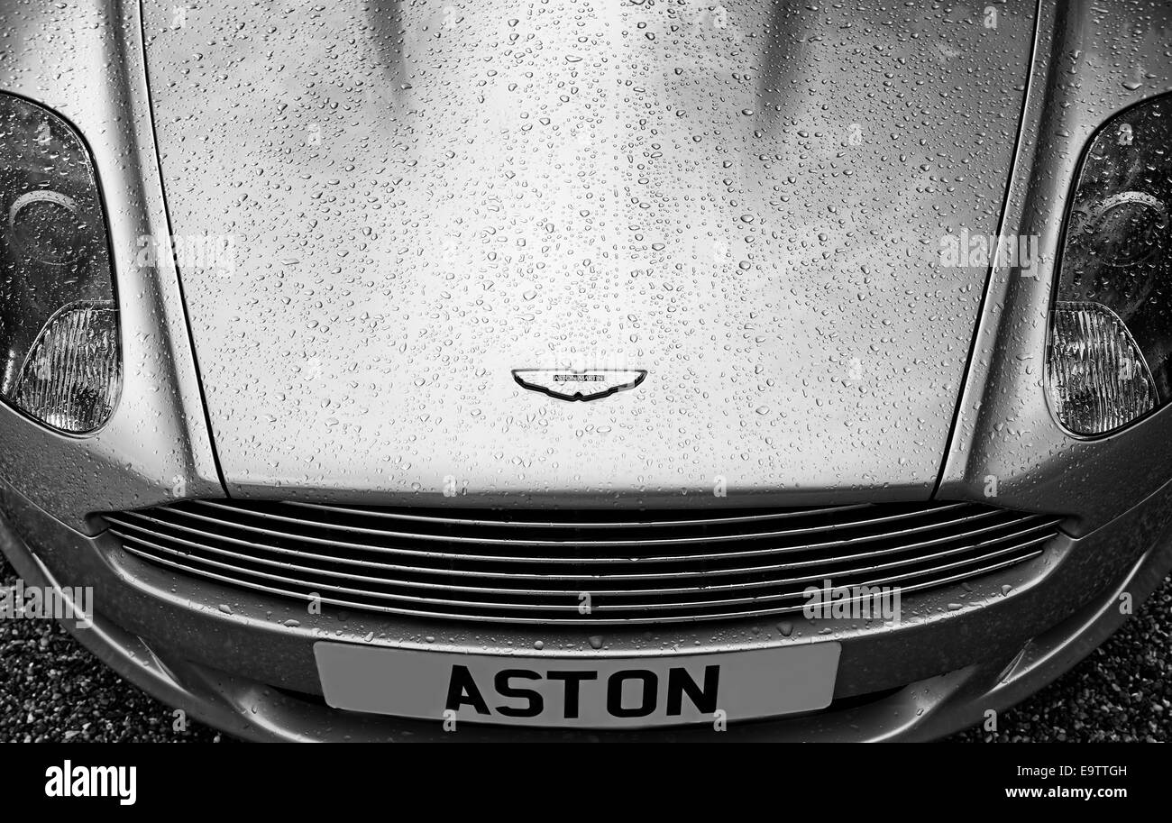 Aston Martin DB9 with water droplets in Monochrome - Stock Image