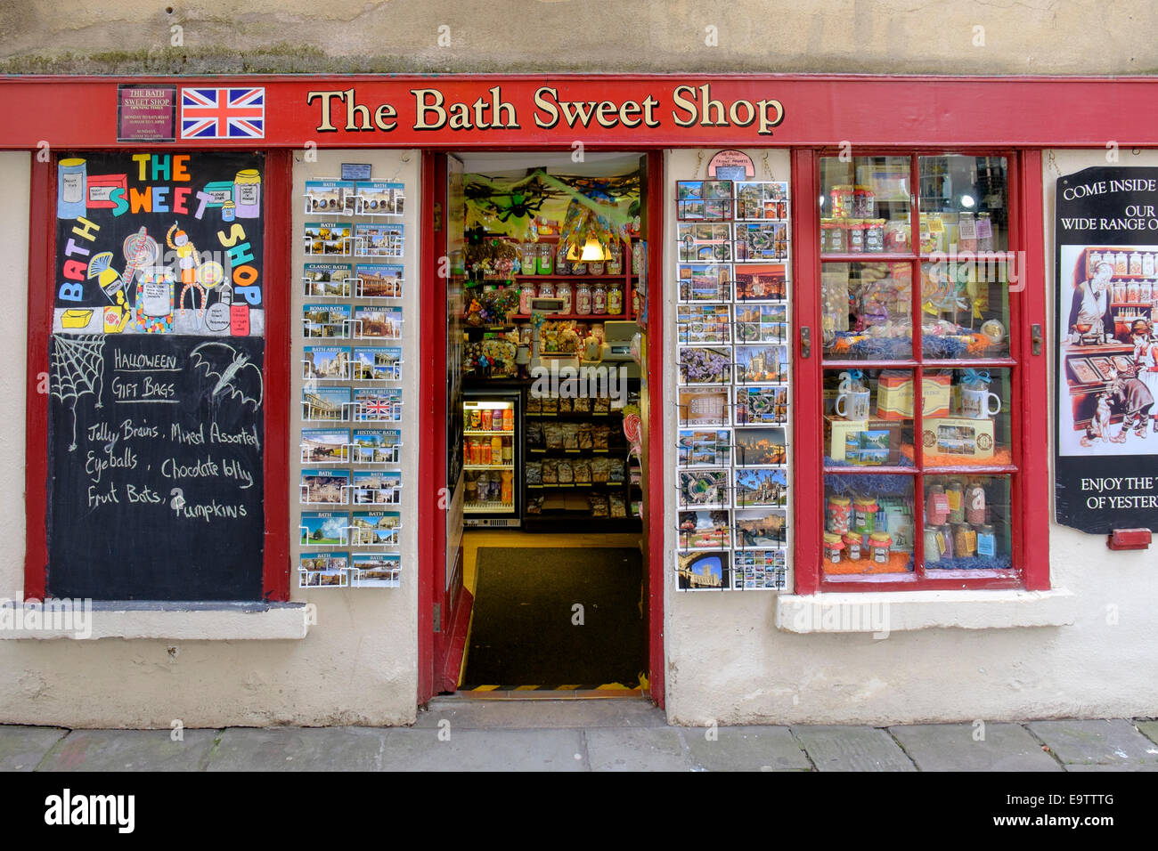 Exterior view of the Bath sweet shop in the historic city of Stock ...