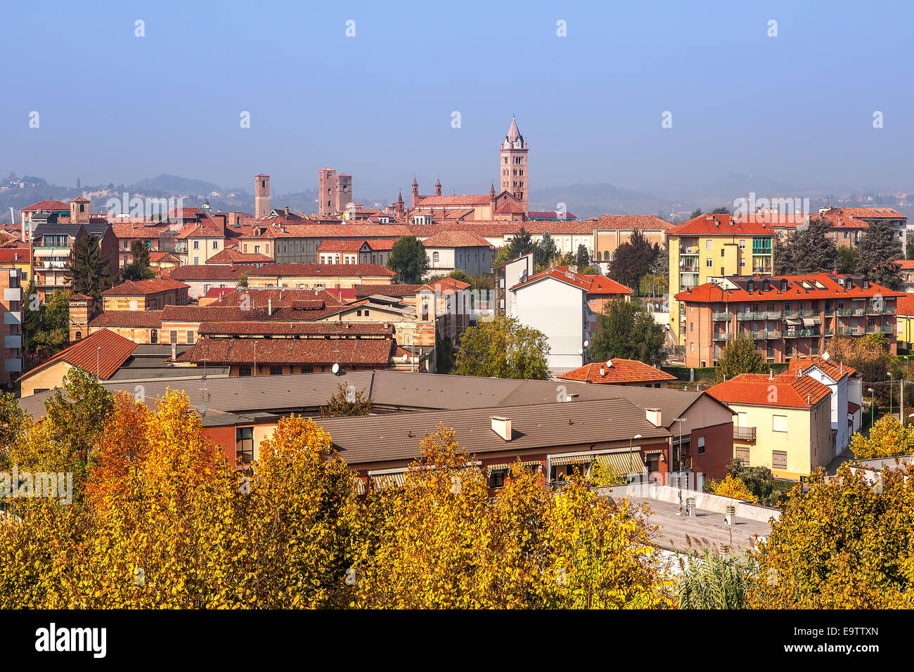 Town of Alba in autumn in Piedmont, Northern Italy. - Stock Image