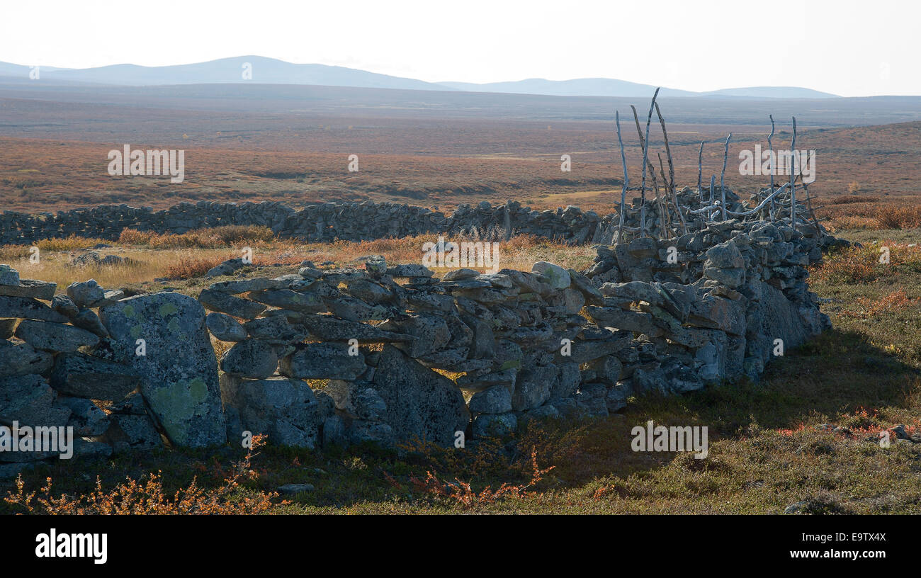 Ancient stone fence of reindeer herding Stock Photo