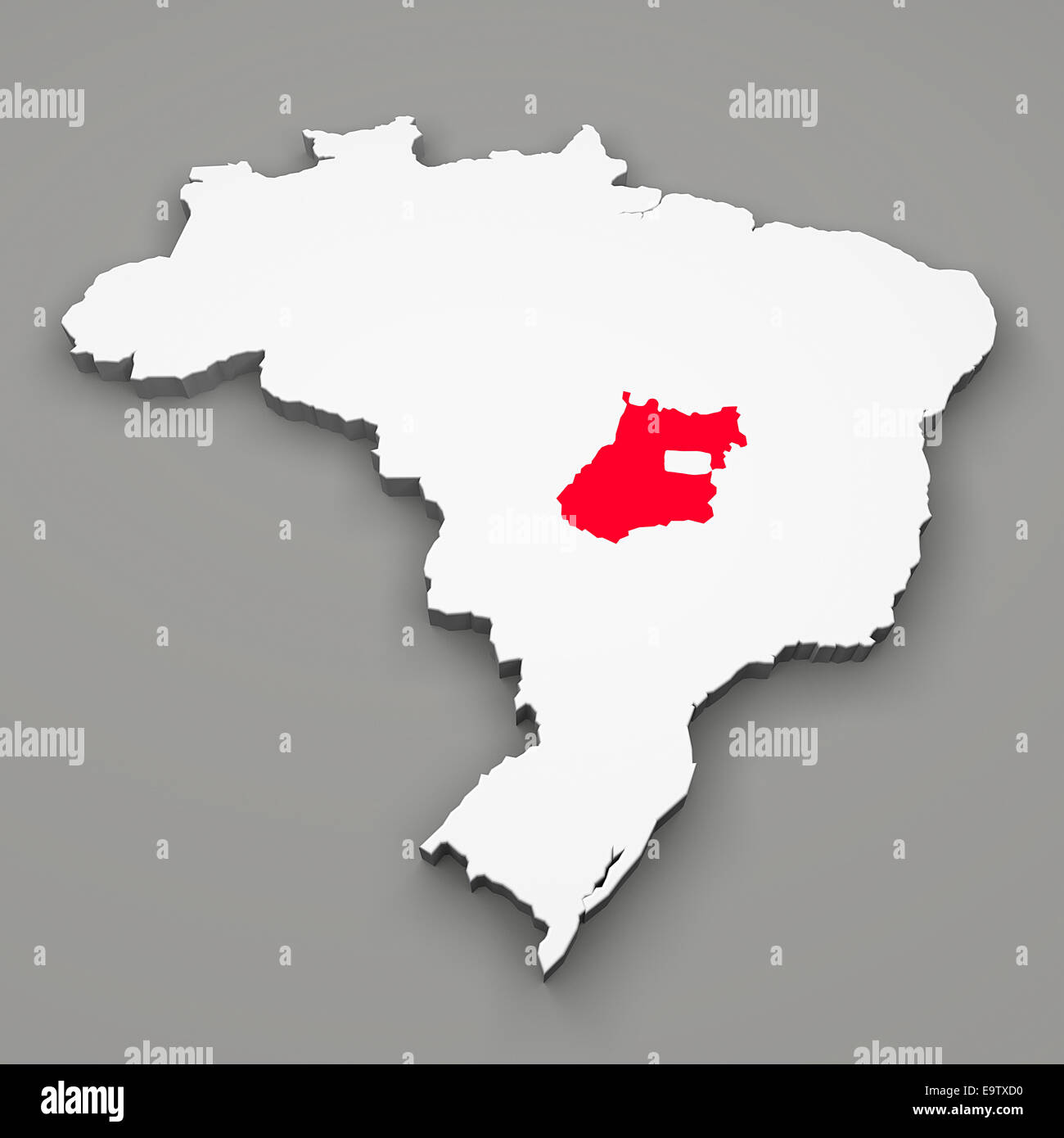 Goias state on map of Brazil on gray background - Stock Image