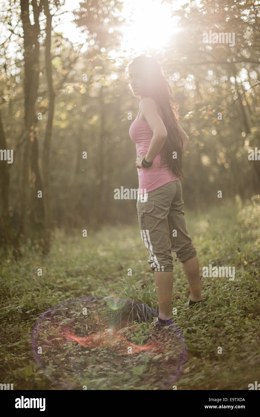Young woman, sportive, in forest (model-released) Stock Photo