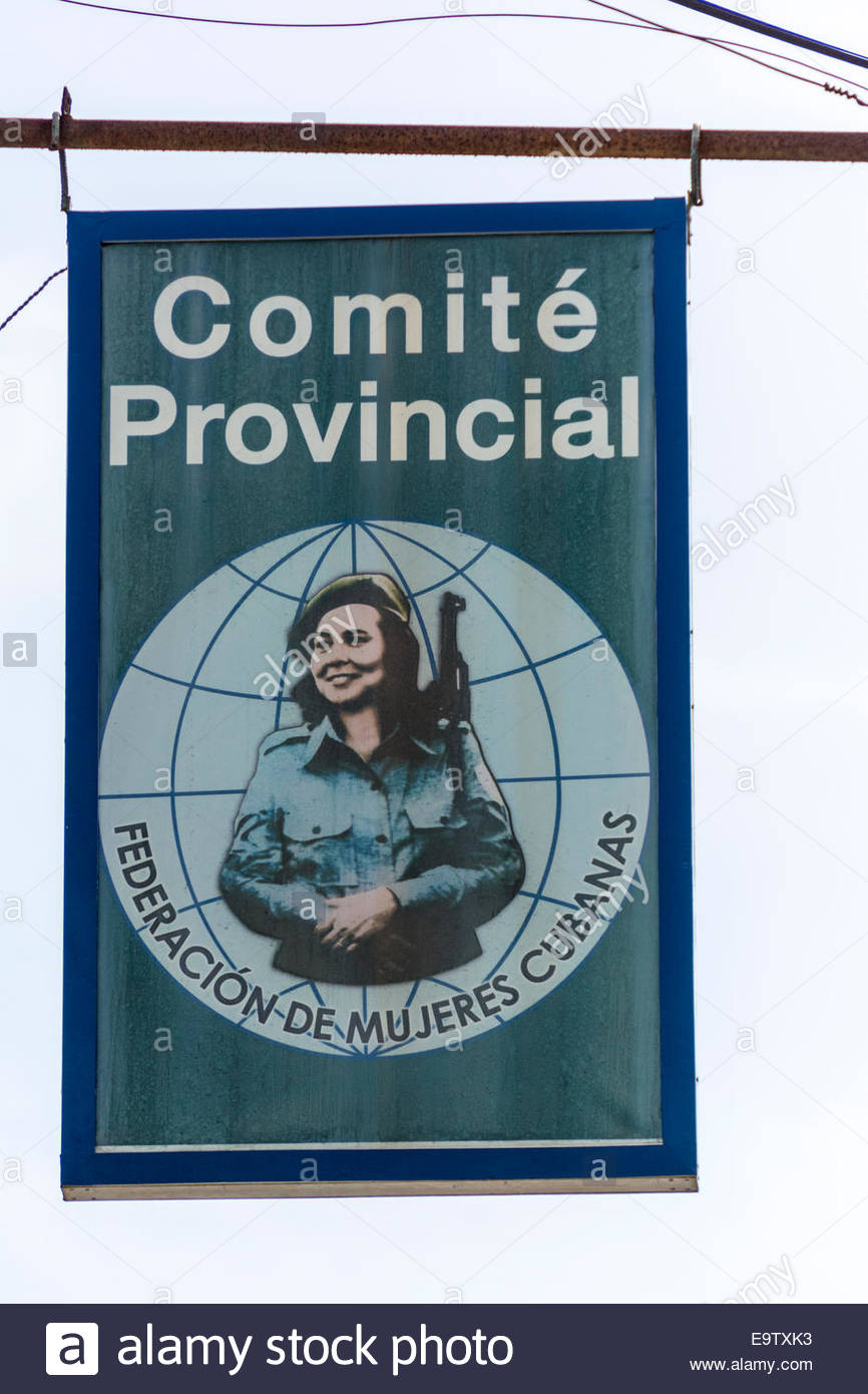Outdoor sign for the Cuban Women Federation or FMC by its acronym is Spanish, a Revolutionary organization long - Stock Image