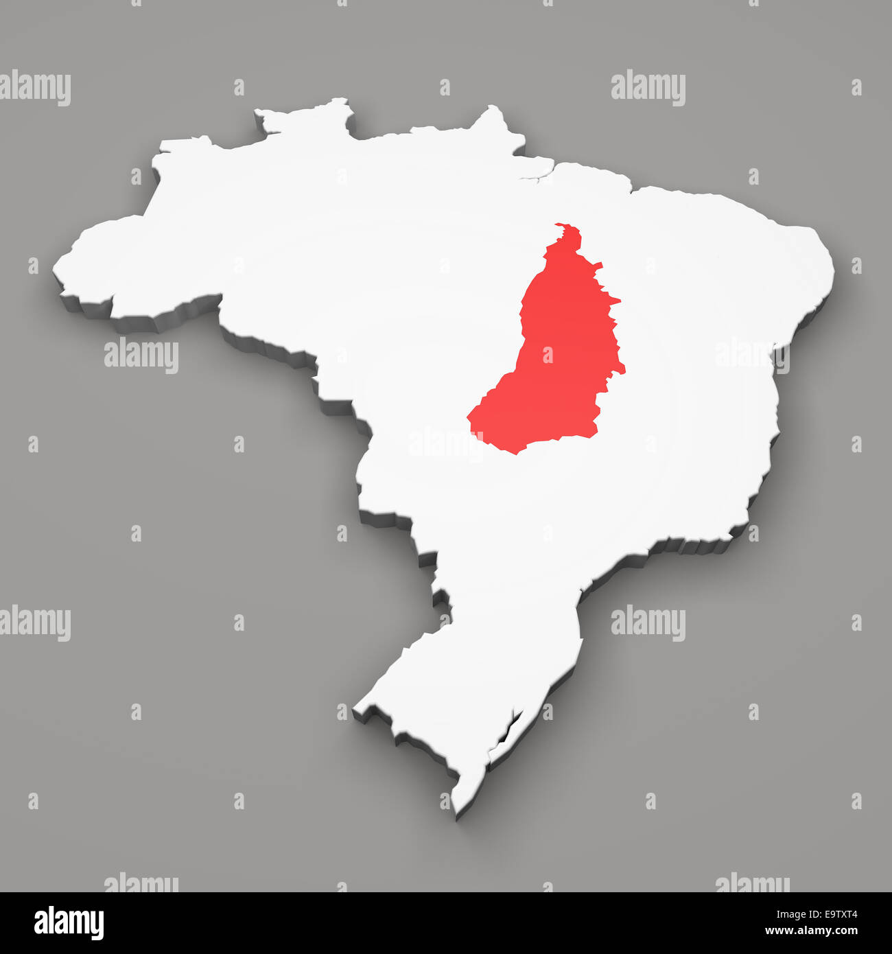 Goias and Tocantis states on map of Brazil on gray background - Stock Image