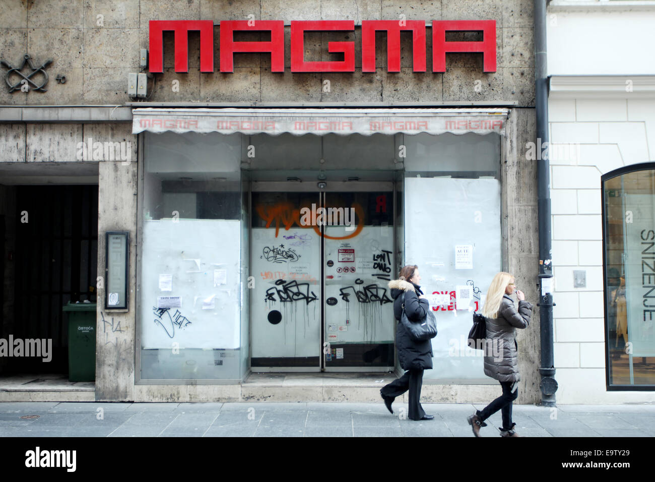 ZAGREB, CROATIA-FEBRUARY 24: People passing by the closed Magma store on February 24th, 2014 in street Ilica in - Stock Image