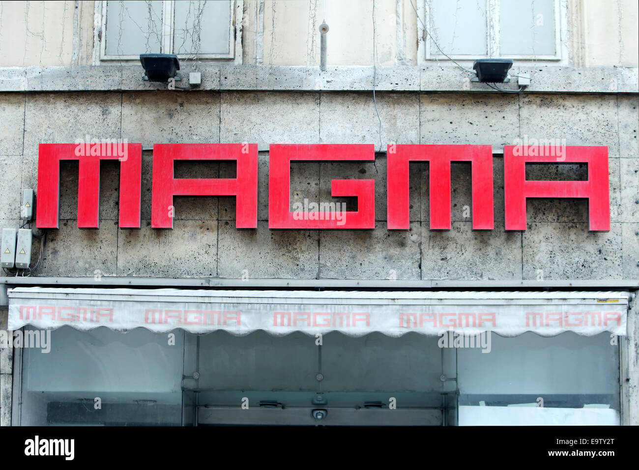 ZAGREB, CROATIA - FEBRUARY 24 : Close up of Magma logo on the wall above the store on February 24th, 2014 in Zagreb, - Stock Image