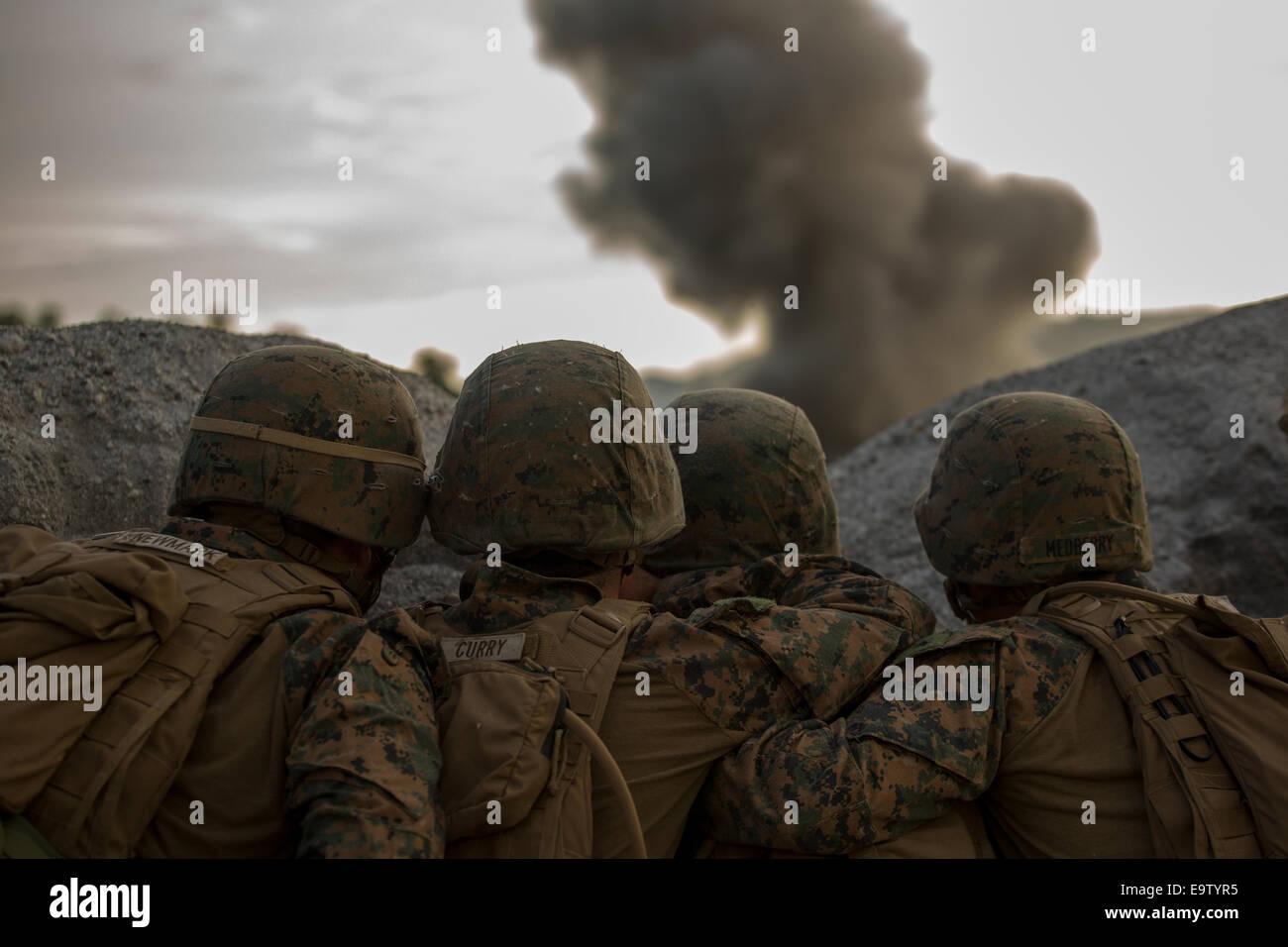 U.S. Marines with Battalion Landing Team, 3rd Battalion, 5th Marine Regiment, 31st Marine Expeditionary Unit observe - Stock Image