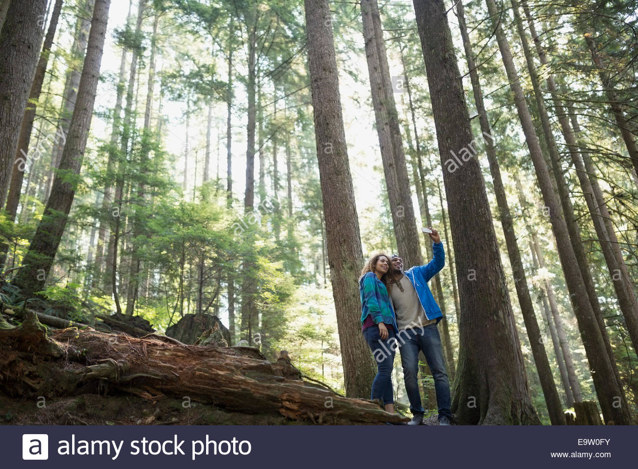 Young couple taking selfie below trees in woods Stock Photo
