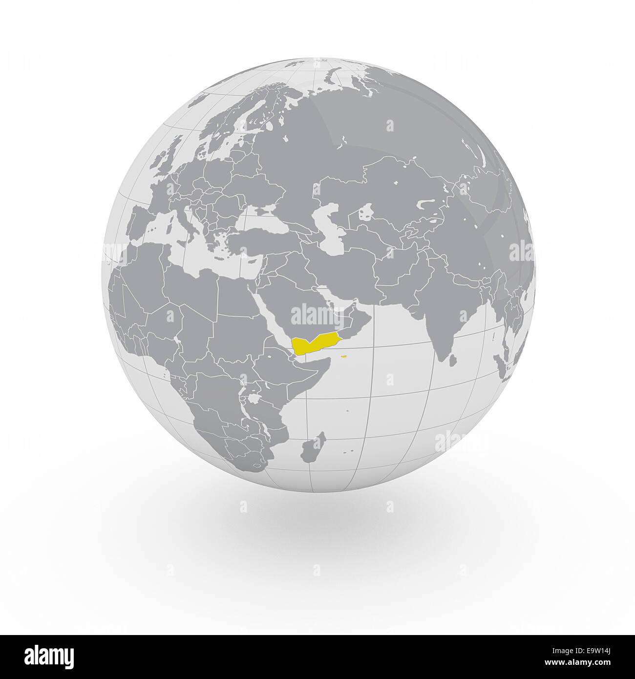 Yemen on globe isolated on white background - Stock Image
