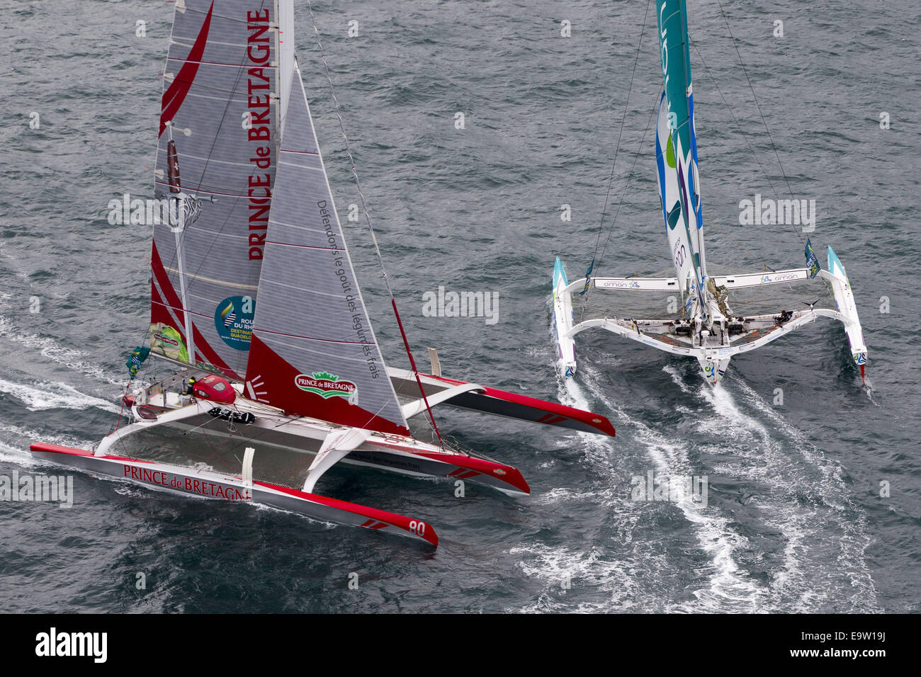 St Malo, France. 02nd Nov, 2014. Route du Rhum Transatlatic solo yacht race. The boats depart from St Malo on their - Stock Image