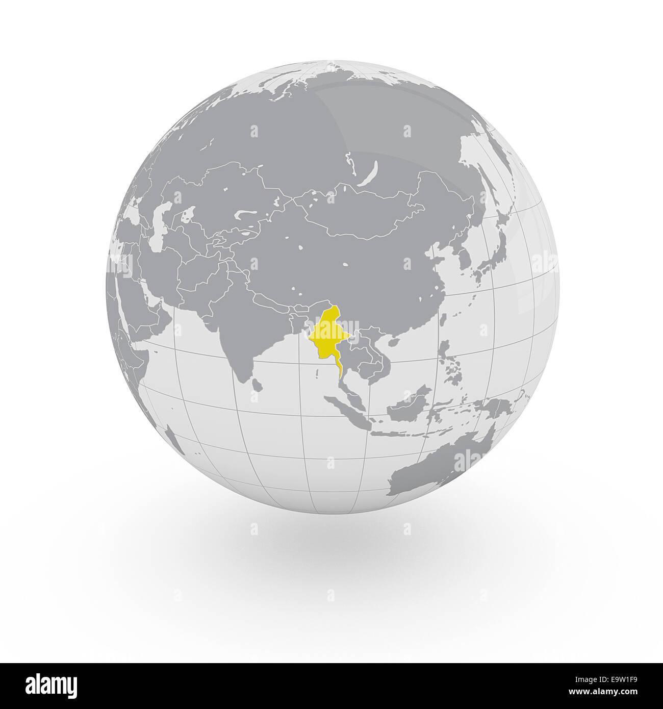 Myanmar on globe isolated on white background Stock Photo