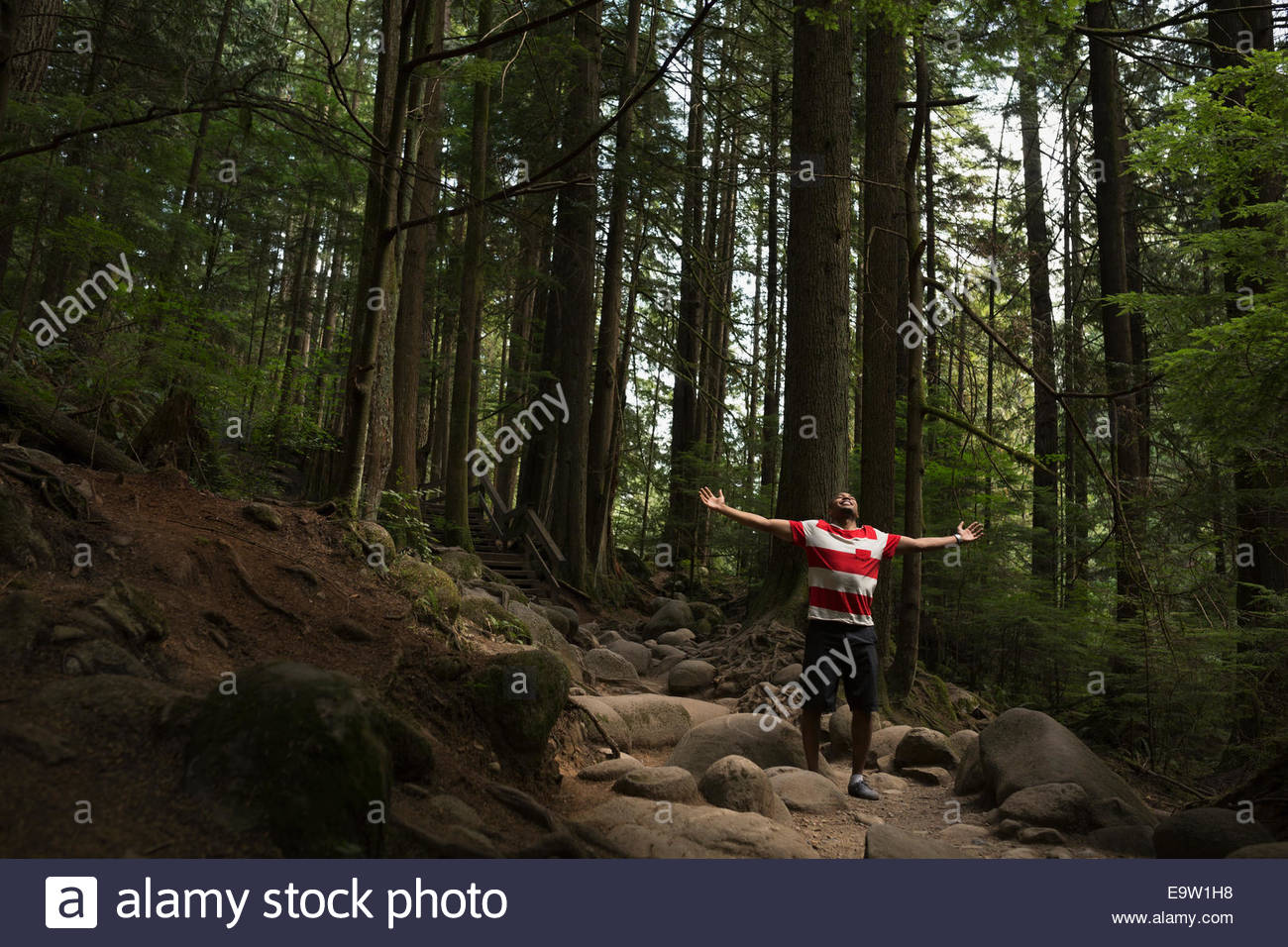 Exuberant man with arms outstretched in woods - Stock Image