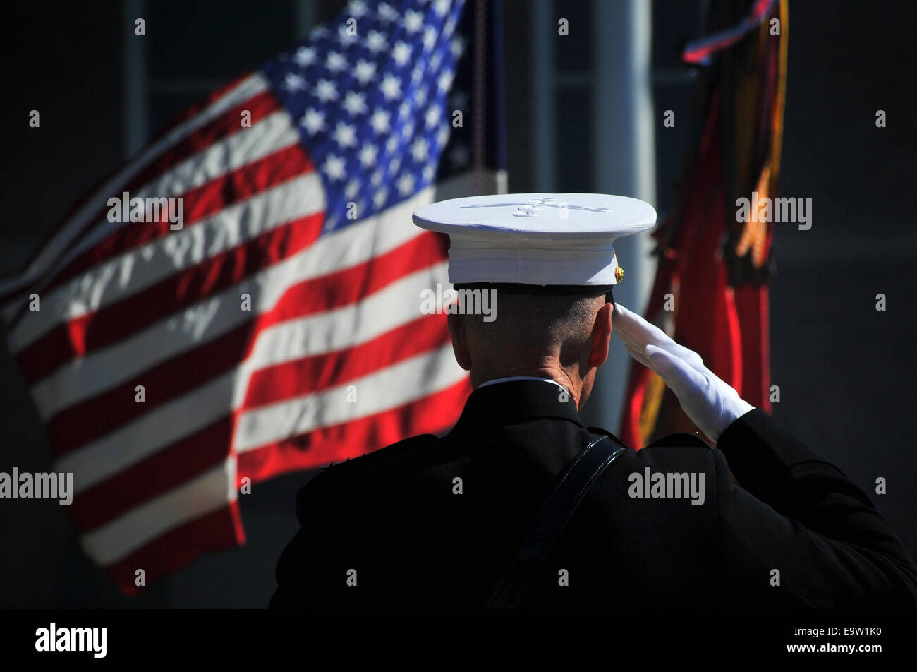 U.S. Marine Corps Gen. James F. Amos, the outgoing commandant of the Marine Corps, salutes the colors during the Stock Photo