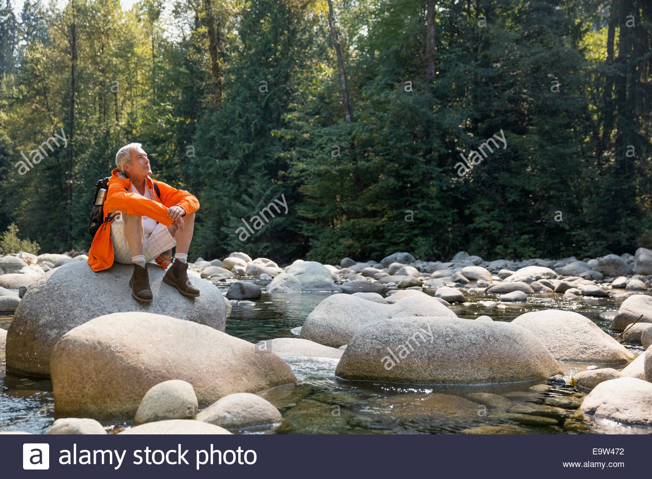 Man sitting on rocks over creek in woods - Stock Image