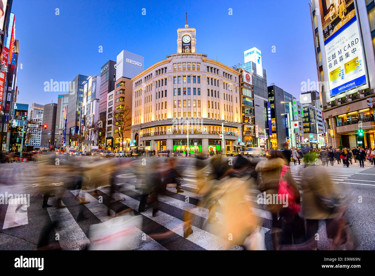 The Ginza District at Wako Department store in Tokyo, Japan. Stock Photo