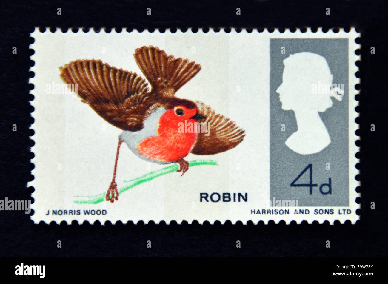 Postage stamp. Great Britain. Queen Elizabeth II. British Birds, Robin.1966. - Stock Image