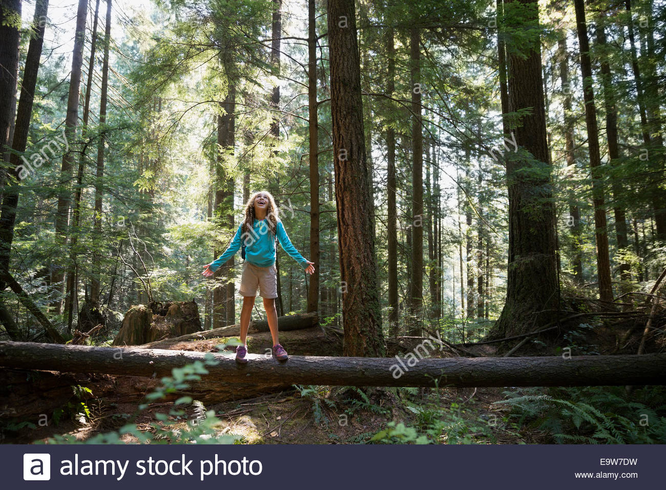Girl with arms outstretched on tree in woods - Stock Image