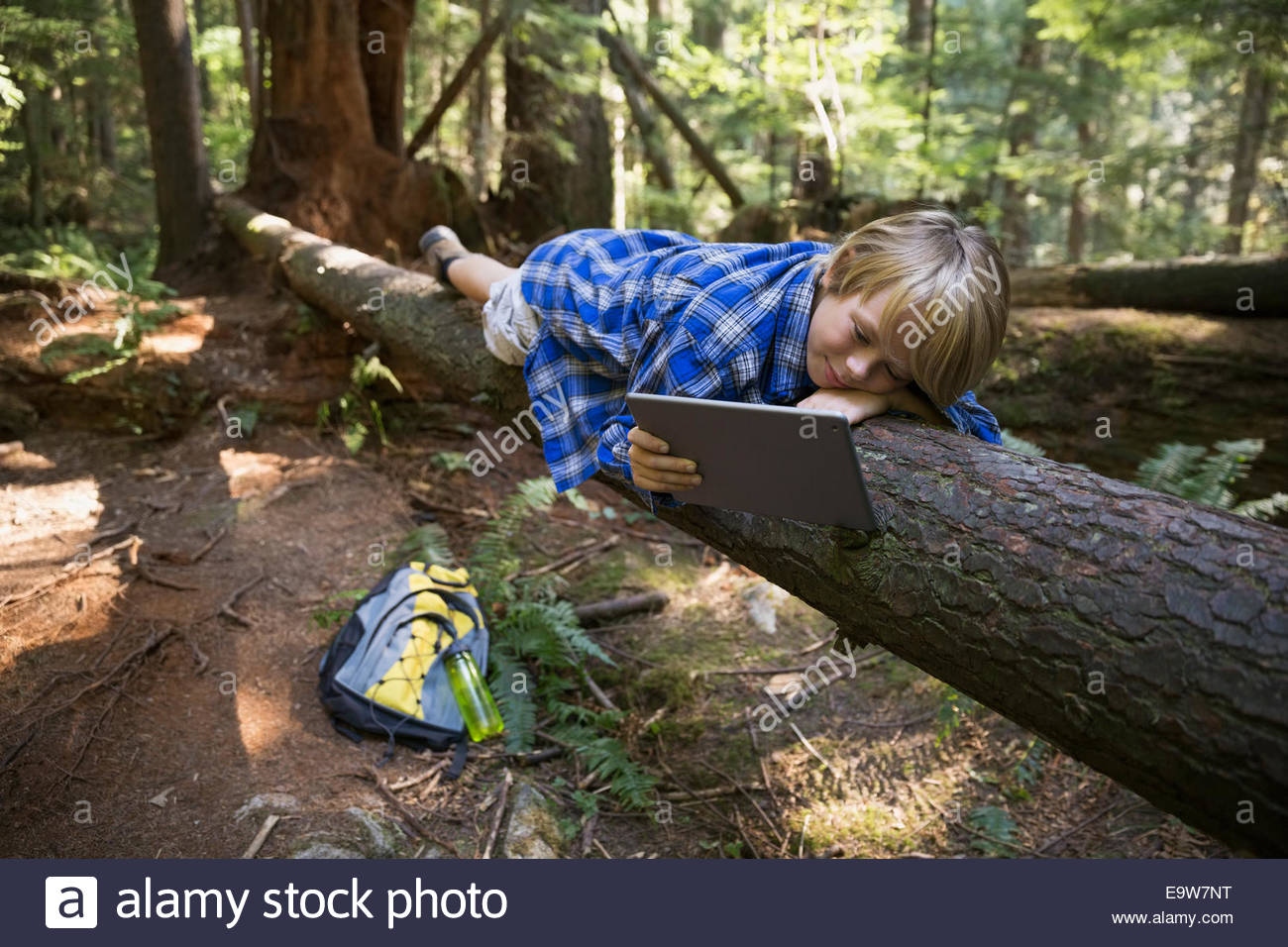 Boy with digital tablet laying on fallen tree - Stock Image