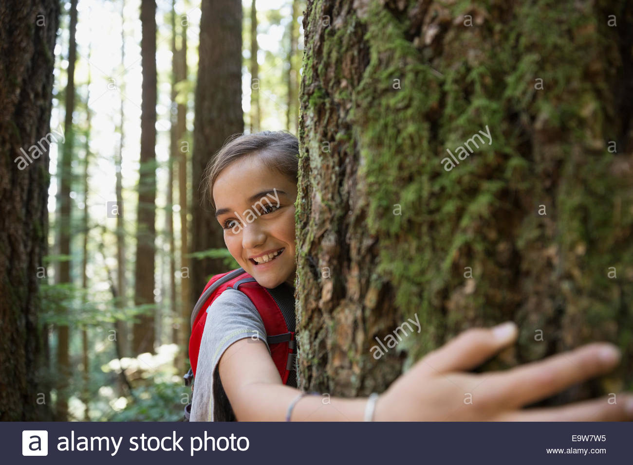 Smiling girl hugging tree trunk in woods - Stock Image