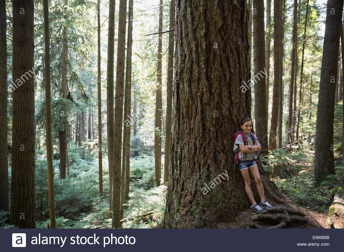 Girl with arms crossed leaning against tree - Stock Image