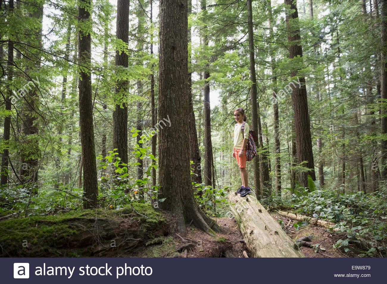 Portrait of girl on fallen tree in woods - Stock Image