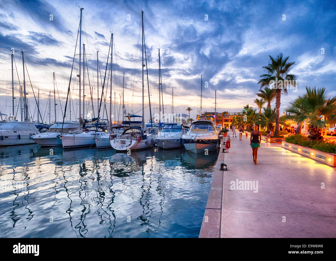 Denia´s nautical port at dusk - Stock Image