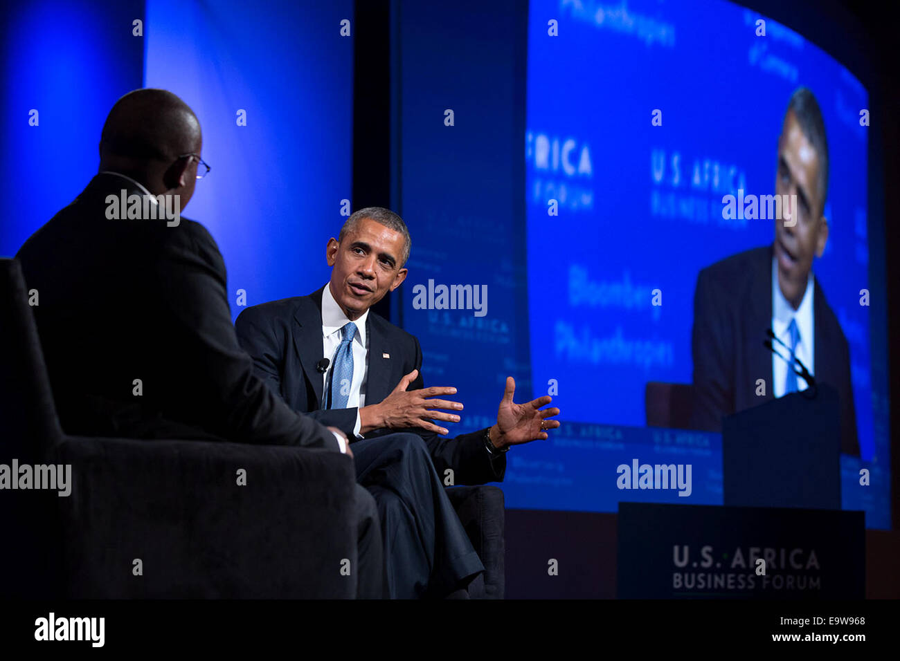 President Barack Obama participates in a discussion with moderator Takunda Chingonzo at the U.S.-Africa BusinessStock Photo