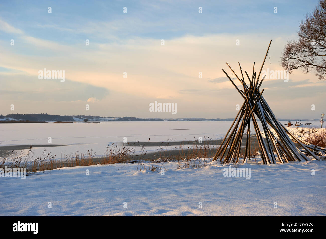 Winter view of frozen fjord - Stock Image