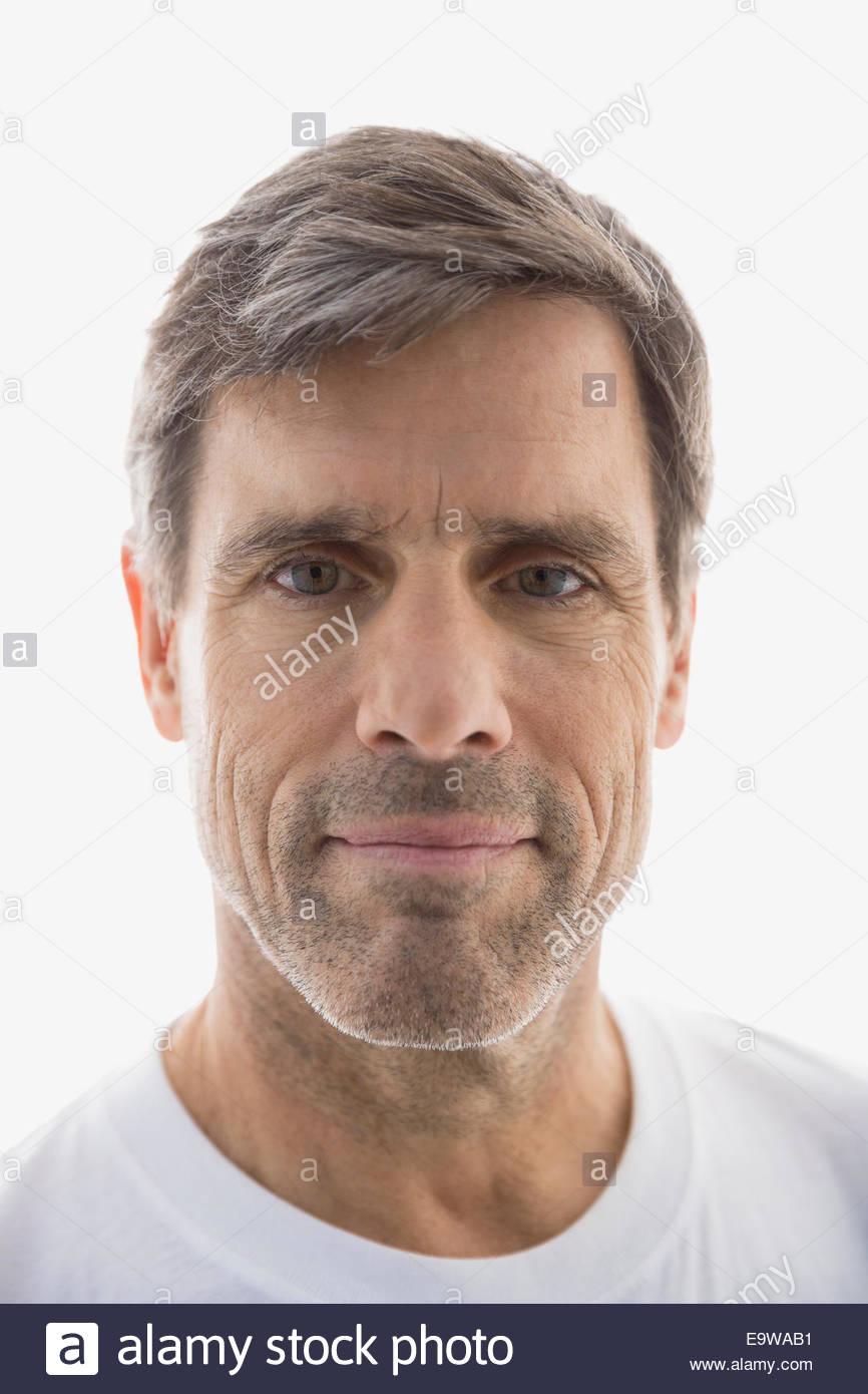 Close up portrait of serious senior man - Stock Image