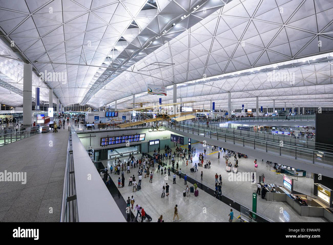 Entrance at Hong Kong International Airport. - Stock Image