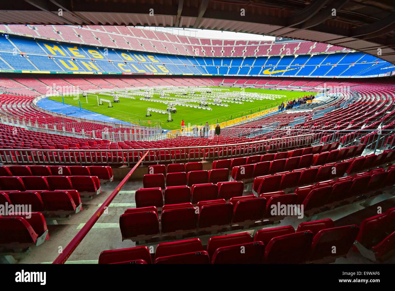 Camp Nou, Stadium of Football Club Barcelona on December 19, 2011 in Barcelona, Spain. - Stock Image