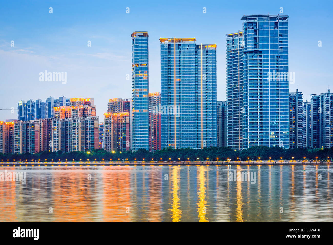 Guangzhou, China modern architecture along the Pearl River. - Stock Image