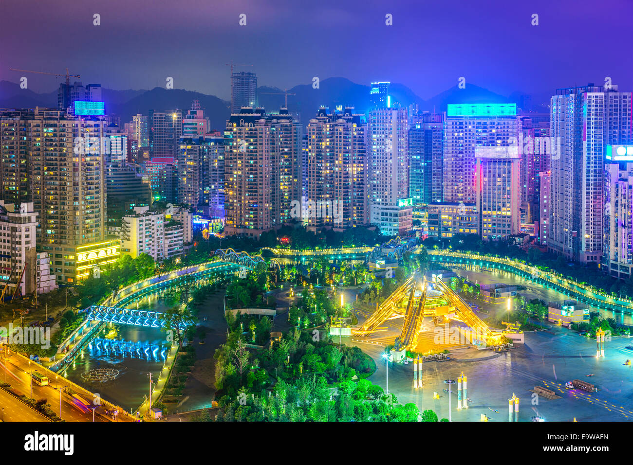 Guiyang, China cityscape over People's Square at night. - Stock Image