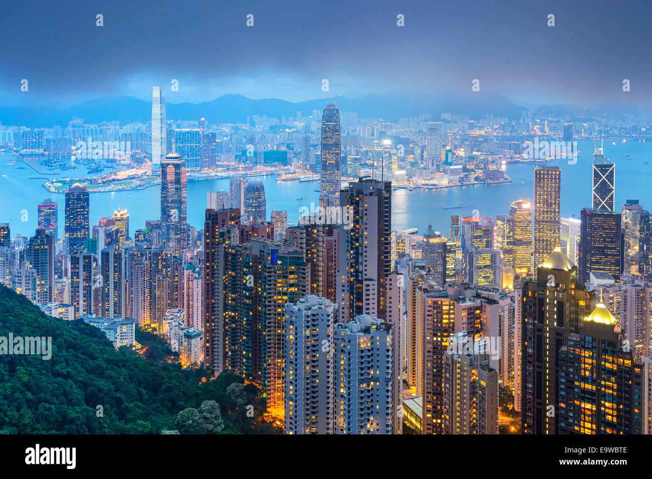 Hong Kong, China city skyline from the Peak. - Stock Image