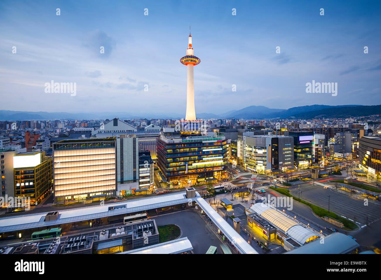 Kyoto, Japan downtown city skyline. - Stock Image