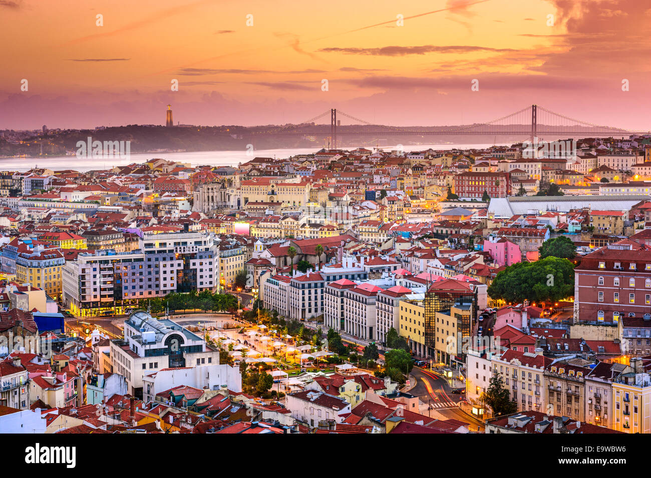 Lisbon, Portugal skyline at night. - Stock Image