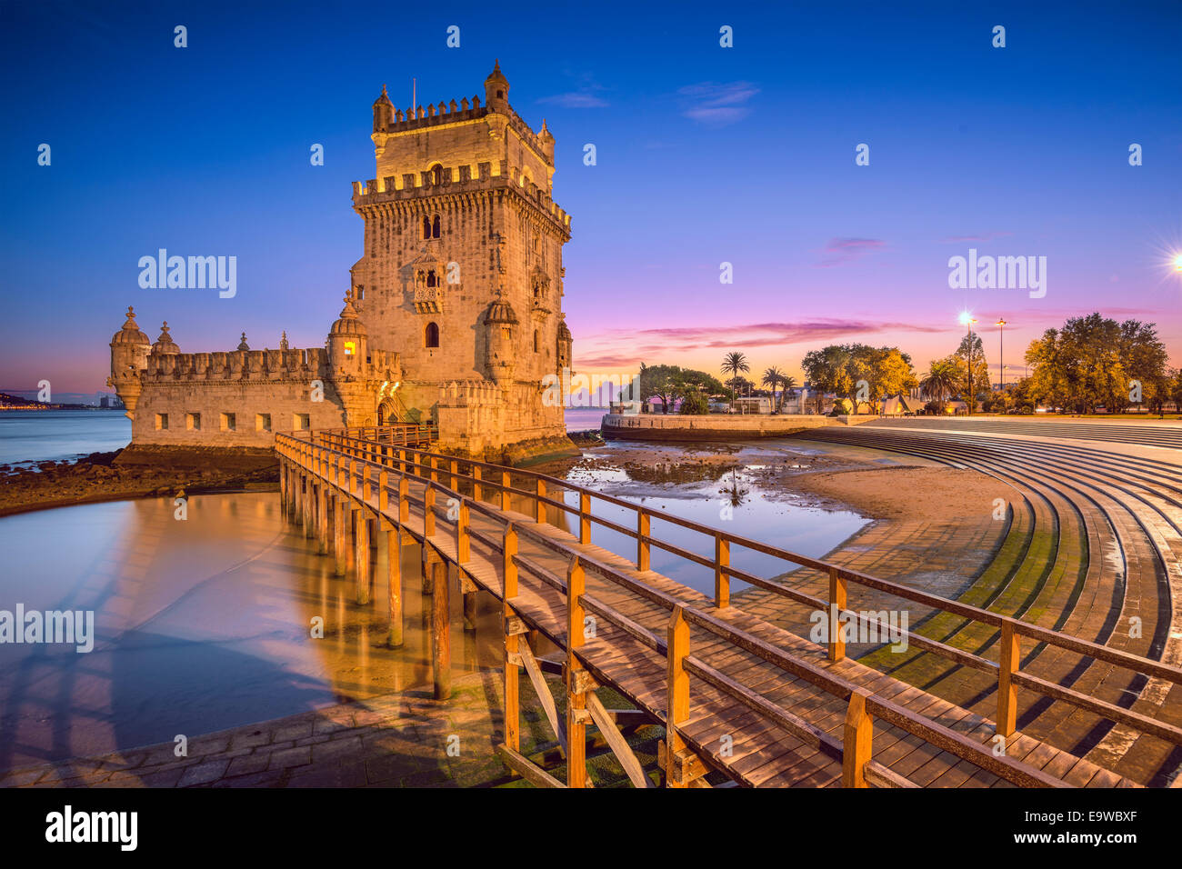 Lisbon, Portugal at Belem Tower on the Tagus River. Stock Photo
