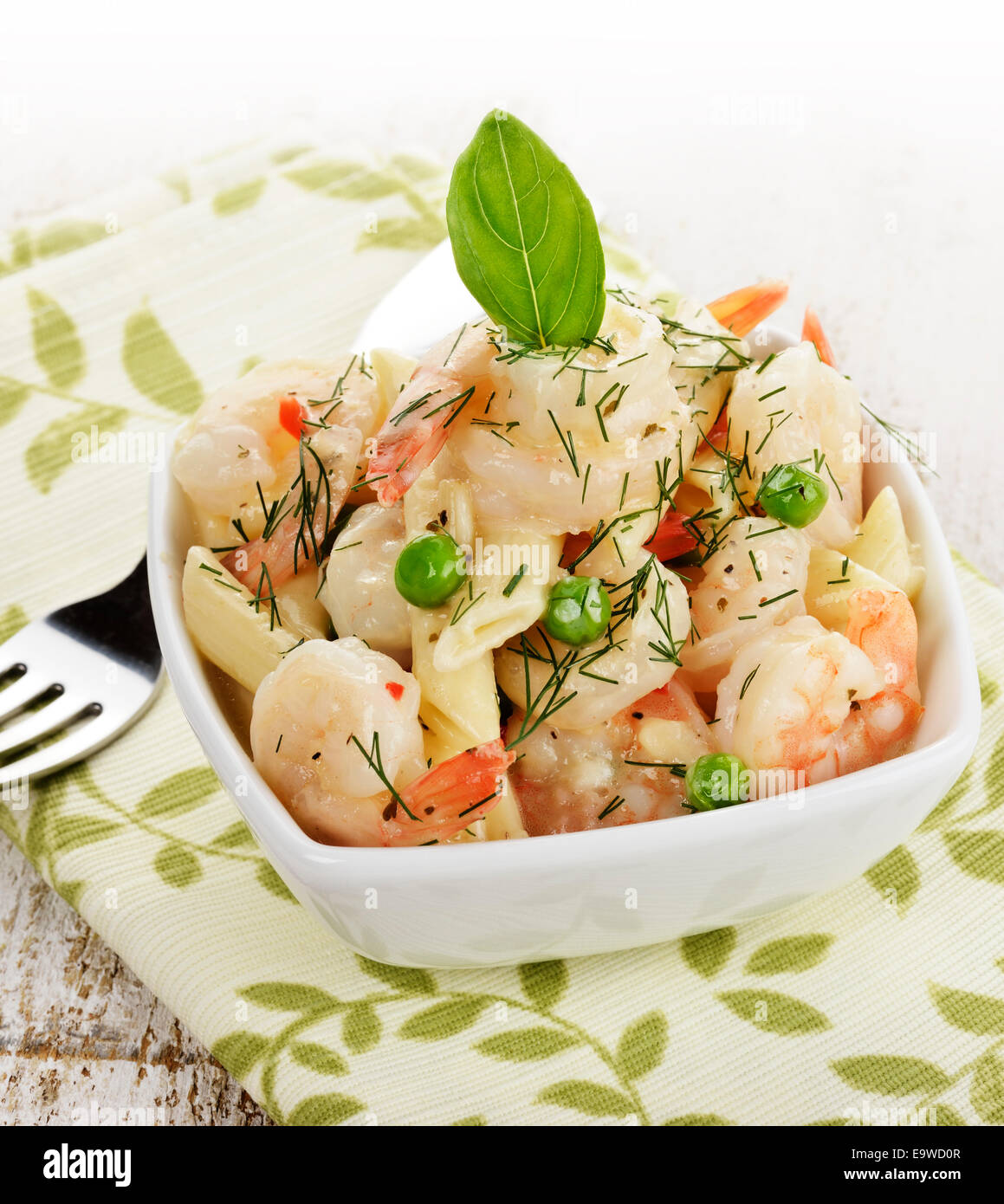 Bowl Of Shrimps And Pasta - Stock Image