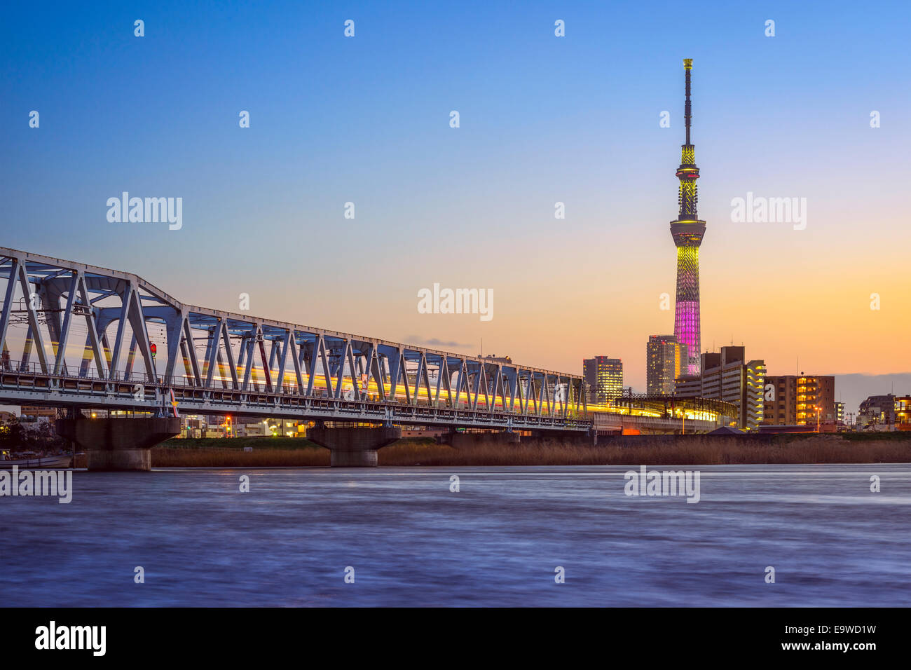 Tokyo, Japan river skyline and Tower. - Stock Image