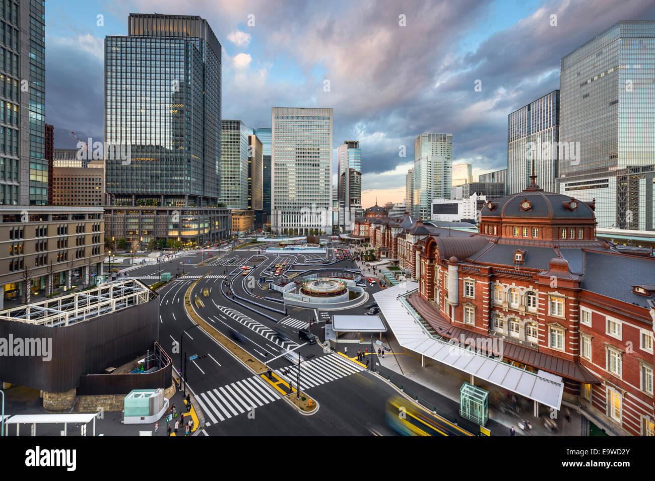 Tokyo, Japan cityscape at Tokyo Station. - Stock Image