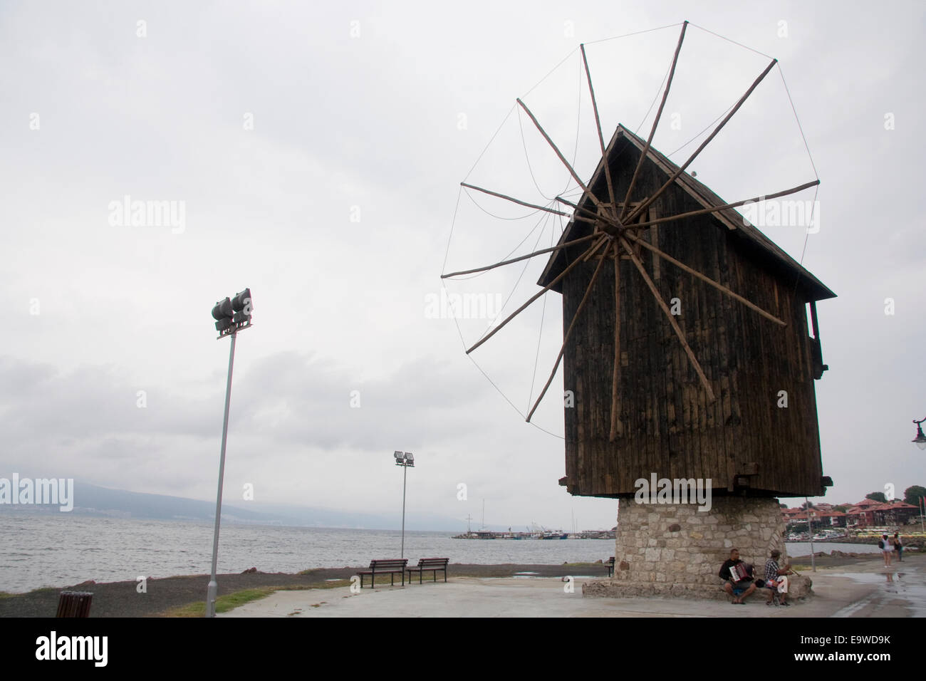 The wooden windmill before the town entrance in Nesebar - Stock Image