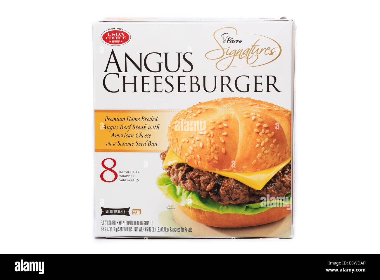 Costco bulk box of Pierre Signatures brand Angus Cheeseburger ready meal - Stock Image