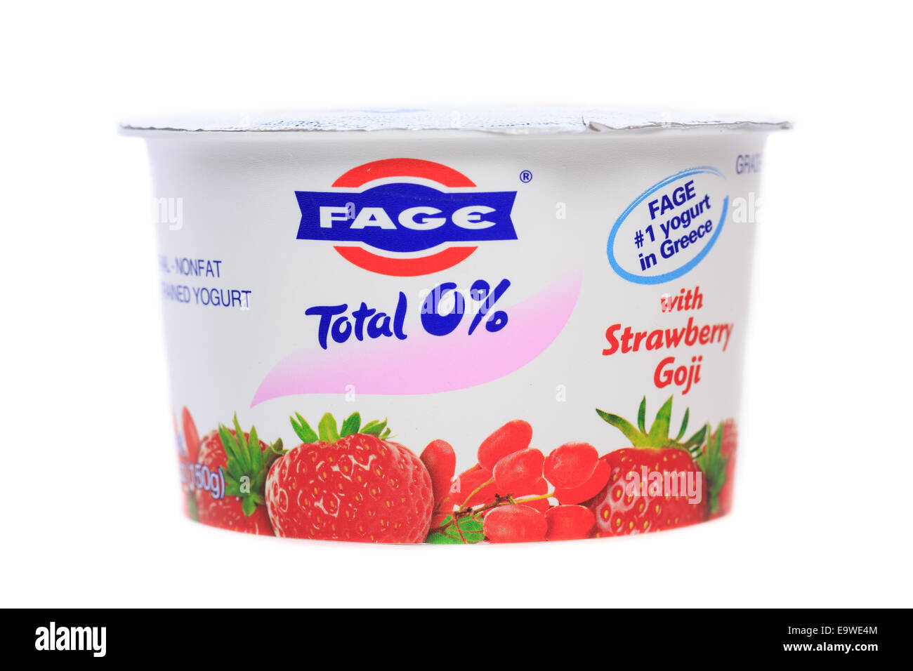 Fage Total 0% nonfat greek strained yogurt cup Strawberry Goji - Stock Image