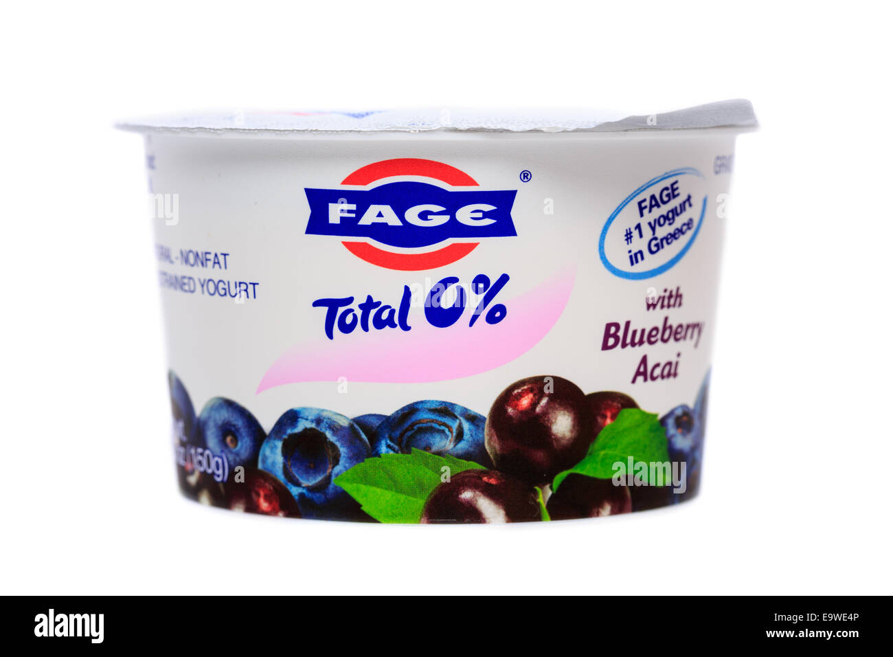 Fage Total 0% nonfat greek strained yogurt cup Blueberry Acai - Stock Image