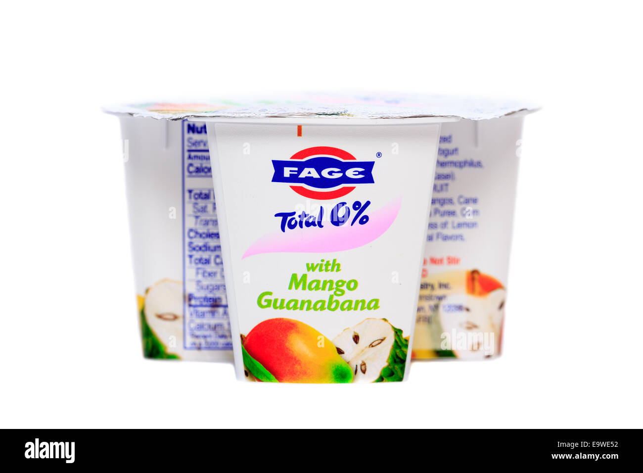 Fage Total 0% nonfat greek strained yogurt cup Mango Guanabana - Stock Image